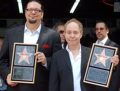 Penn & Teller at a ceremony to receive a star on the Hollywood Walk of Fame in April 2013.