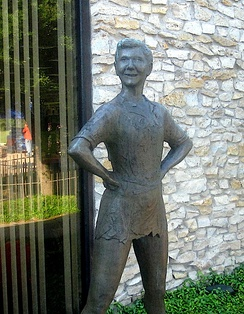 Peter Pan statue in Martin's hometown of Weatherford in Parker County, Texas