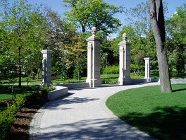 Stone pillars of the Bennett Gates mark the southern entrance of Philosopher's Walk.