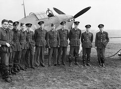 Pilots of No. 1 Squadron at Prestwick, Scotland, 30 October 1940