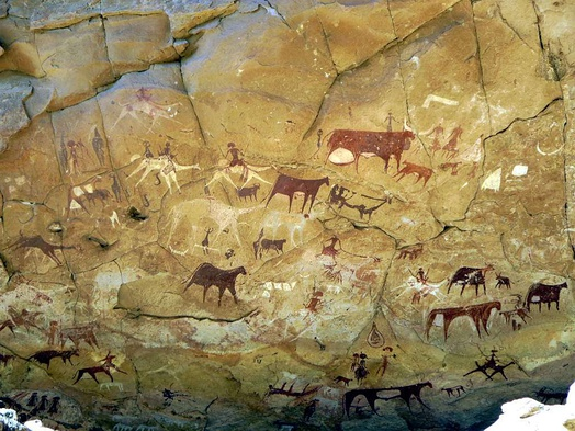 Rock paintings in Manda Guéli Cave in the Ennedi Mountains.