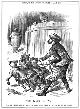 "Punch cartoon from June 17. Russia preparing to let slip the ""Dogs of War"", its imminent engagement in the growing Balkan conflict between Slavic states and Turkey, while policeman John Bull (Britain) warns Russia to take care. The Slavic states of Serbia and Montenegro would declare war on Turkey two weeks later."