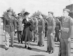 The Duchess of Kent inspects personnel of 4th Fighter Group during a royal visit to Debden, June 1943.