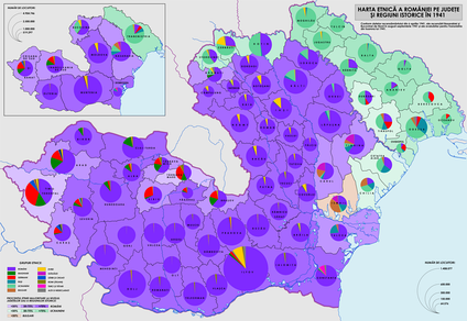 Population structure in Romania (Transnistria included) according to the 1941 census.