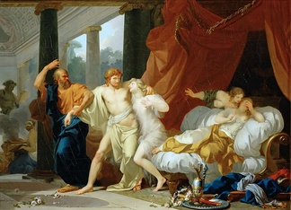 Socrates Tears Alcibiades from the Embrace of Sensual Pleasure by Jean-Baptiste Regnault (1791)