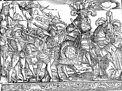 Engraving depicting the capture of Nancy through Duke René II of Lorraine in 1477