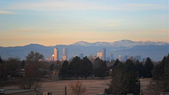 Sunrise in Denver on a typical January morning
