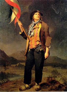 Early depiction of the tricolour in the hands of a sans-culotte during the French Revolution.
