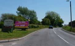 "UKIP placard on the side of the road in Starcross, Devon, declaring: ""Say NO to European Union"""