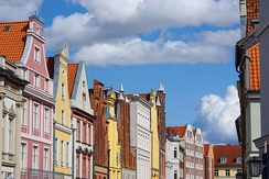 Typical street view of Stralsund: patrician houses with high gables from different eras, including the remarkable Brick Gothic and Renaissance