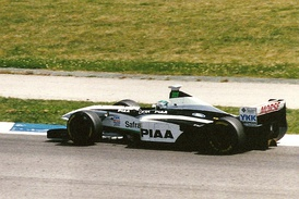 Takagi driving for Tyrrell at the 1998 Spanish Grand Prix.