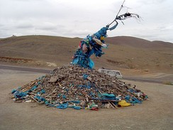 Ceremonial cairn of rocks, an ovoo, from Mongolia