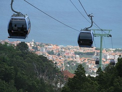 Famous cable car ride between Funchal and Monte, high up on Funchal's mountains