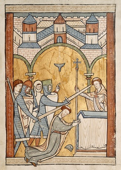 A 13th-century manuscript illumination, the earliest known depiction of Thomas Becket's assassination