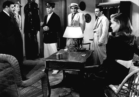 From left to right: Dan Seymour, Aldo Nadi, Humphrey Bogart, Sheldon Leonard, Marcel Dalio and Lauren Bacall in To Have and Have Not (1944)