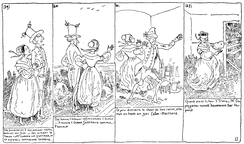 Histoire de Monsieur Cryptogame (1830) by Rodolphe Töpffer, an early example of a text comic. Notice the text underneath the images