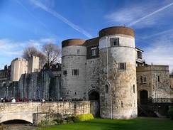 The main entrance to the Tower of London. Today the castle is a popular tourist attraction.