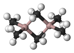 Structure of trimethylaluminium, a compound that features five-coordinate carbon.