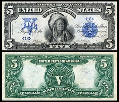 Running Antelope, a Hunkpapa Lakota Chief, depicted on the US 1899 $5 silver certificate.