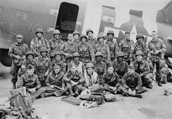 U.S. Army Pathfinders and USAAF flight crew prior to D-Day, June 1944, in front of a C-47 Skytrain at RAF North Witham