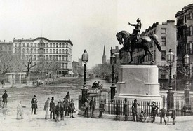 George Washington (Henry Kirke Brown, 1856) in the middle of Fourth Avenue at 14th Street, c.1870