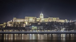 Buda Castle at night viewed from Danube Promenade