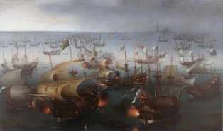 The Portuguese galleon São Martinho, flagship of the Spanish Armada, in the Battle of Gravelines