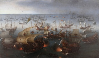 The Portuguese galleon São Martinho, flagship of the Spanish Armada, in the battle of Gravelines.