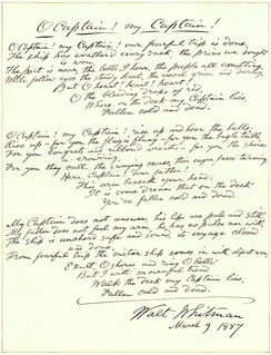 "Autograph fair copy, signed and dated March 9 1887, of Whitman's poem ""O Captain! My Captain!"", according to the 1881 edition"
