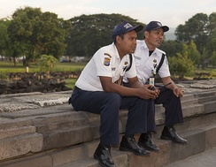 Security guards in Prambanan Temple, Central Java, Indonesia