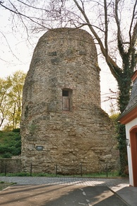 The Drusus monument or Drususstein (surrounded by the 17th century citadel) raised by Drusus' men to commemorate him