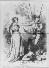 A sword-wielding Columbia in an 1874 Thomas Nast cartoon, protecting an injured black man from being beaten by a mob of White Leaguers