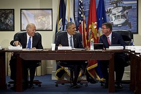 President Barack Obama, Vice President Joe Biden and Secretary of Defense Ash Carter greet each other during a meeting of the National Security Council at the Pentagon in Washington, Aug. 4, 2016.