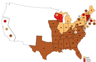 Webster (red) won the support of several delegates at the 1852 Whig National Convention