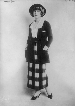 "Woman wearing a ""sport suit,"" American, June 1920. Sportswear originally described interchangeable separates, as here."