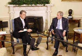 Then-president Viktor Yushchenko meeting with then-US president George W. Bush in 2008.