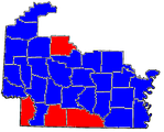 Ross counties in blue, Rankin counties in red.