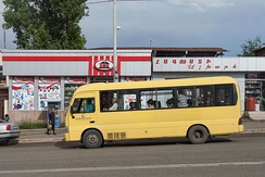 A routed taxicab minibus in Stepanakert