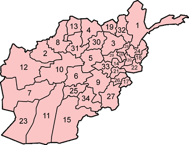 Afghanistan is divided into 34 provinces, and every province is further divided into a number of districts