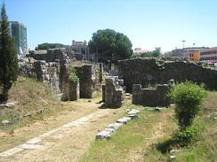 Ruins of Hellenistic fortification walls built during the Illyrian urban period.