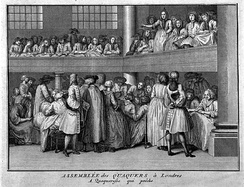 A female Quaker preacher and her congregation.
