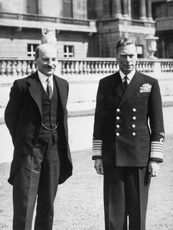 George VI (right) with British prime minister Clement Attlee, July 1945