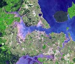 Satellite view of the Auckland isthmus and Waitematā Harbour