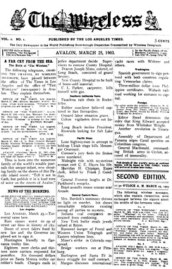 Front page of the debut (March 25, 1903) issue of the short-lived The Wireless, published in Avalon.[83]