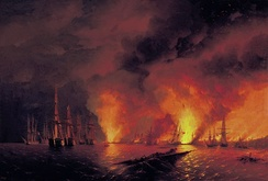The Russian destruction of the Turkish fleet at the Battle of Sinop on 30 November 1853 sparked the war (painting by Ivan Aivazovsky).