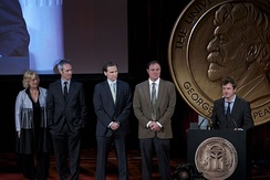 Beau Willimon with cast and crew at the 73rd Annual Peabody Awards