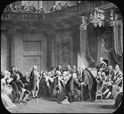 19th century engraving depicting Benjamin Franklin's appearance before the Privy Council
