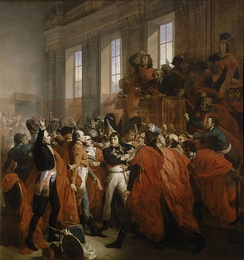 Bonaparte confronts the members of the Council of Five Hundred on 10 November 1799