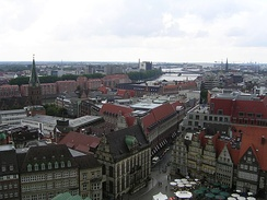 View from the Bremen Cathedral in the direction of the Stephani-Bridge