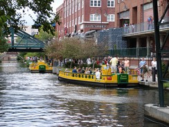 Water taxis in Oklahoma City's downtown Bricktown neighborhood